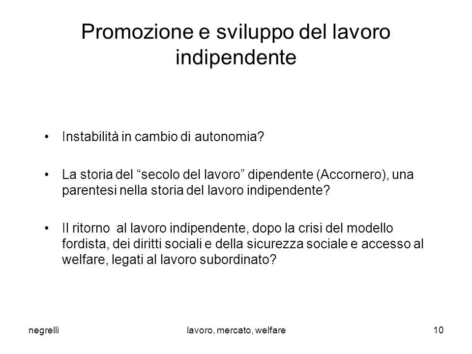 negrellilavoro, mercato, welfare Promozione e sviluppo del lavoro indipendente Instabilità in cambio di autonomia.
