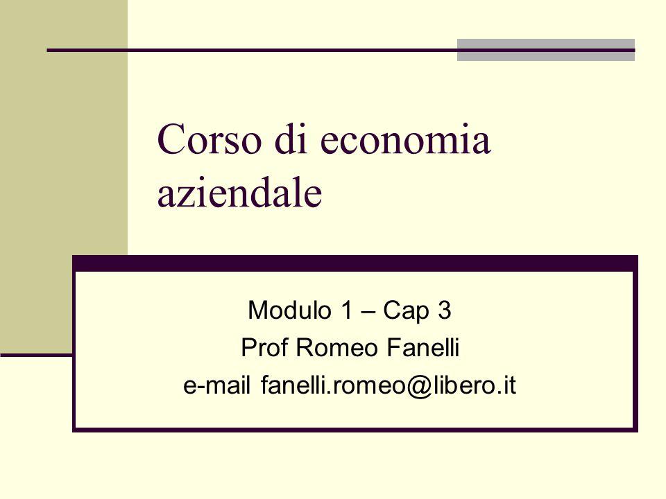 Corso di economia aziendale Modulo 1 – Cap 3 Prof Romeo Fanelli e-mail fanelli.romeo@libero.it