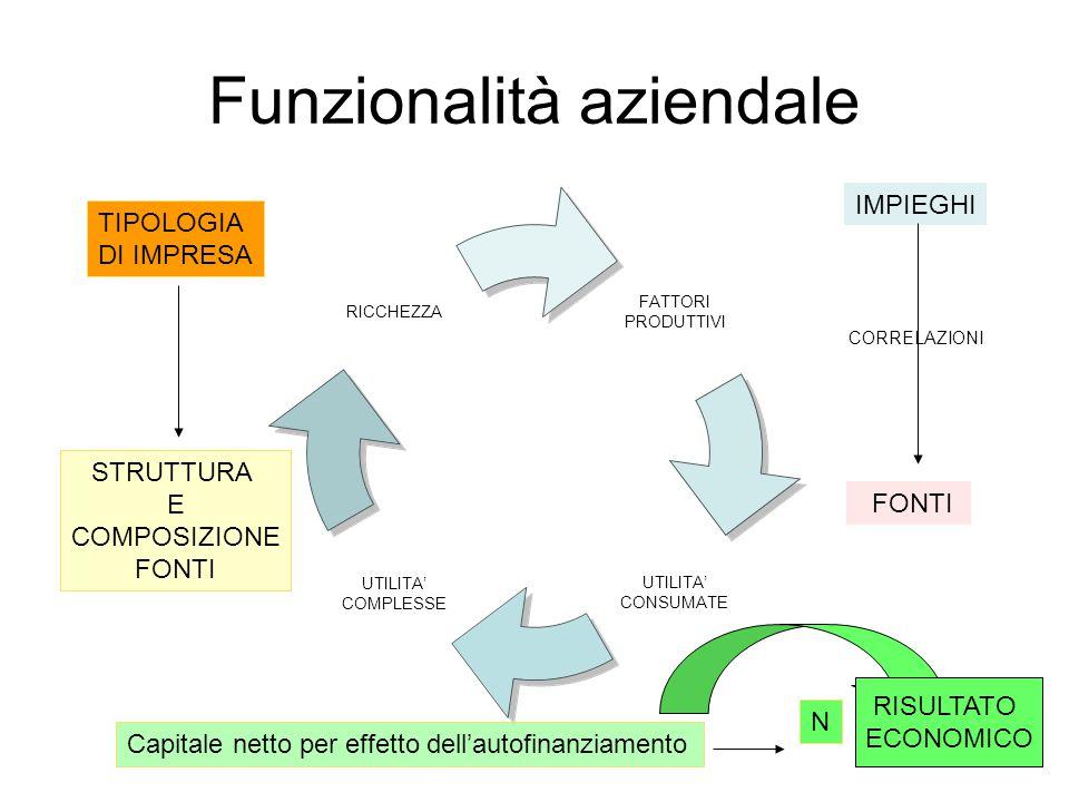 Funzionalità aziendale FATTORI PRODUTTIVI UTILITA' CONSUMATE UTILITA' COMPLESSE RICCHEZZA TIPOLOGIA DI IMPRESA STRUTTURA E COMPOSIZIONE FONTI IMPIEGHI