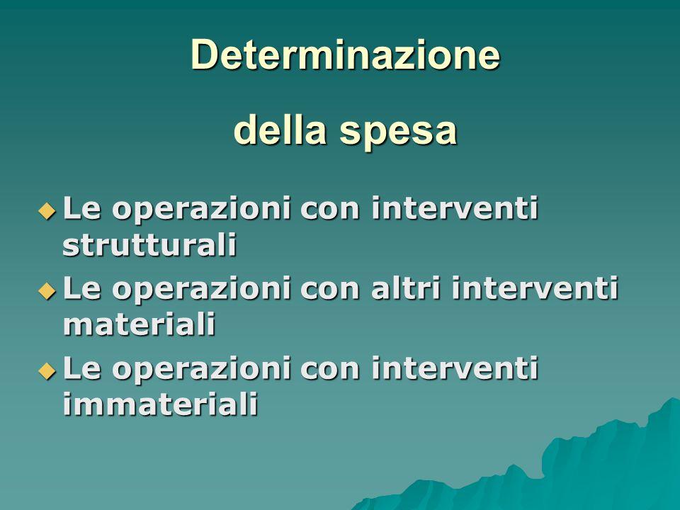  Le operazioni con interventi strutturali  Le operazioni con altri interventi materiali  Le operazioni con interventi immateriali Determinazione della spesa