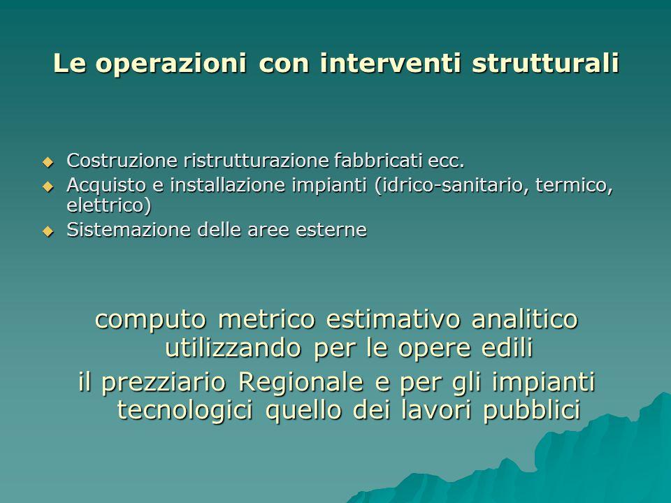 Le operazioni con interventi strutturali  Costruzione ristrutturazione fabbricati ecc.