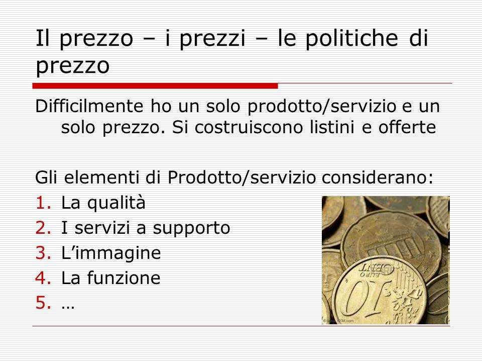 Il prezzo – i prezzi – le politiche di prezzo Difficilmente ho un solo prodotto/servizio e un solo prezzo.