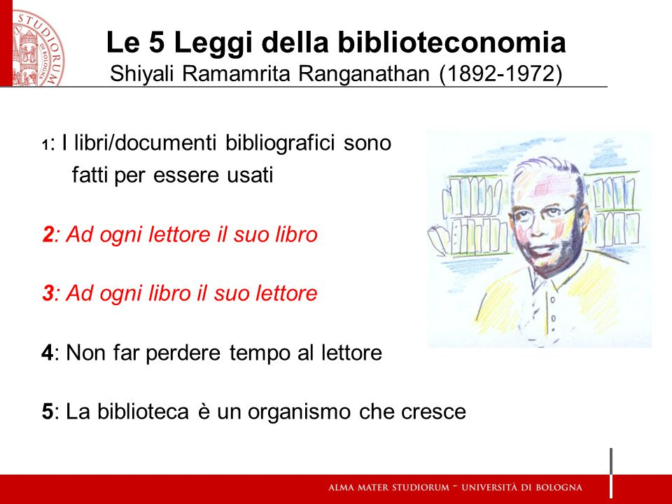 Le 5 Leggi della biblioteconomia Shiyali Ramamrita Ranganathan (1892-1972) 1 : I libri/documenti bibliografici sono fatti per essere usati 2: Ad ogni lettore il suo libro 3: Ad ogni libro il suo lettore 4: Non far perdere tempo al lettore 5: La biblioteca è un organismo che cresce