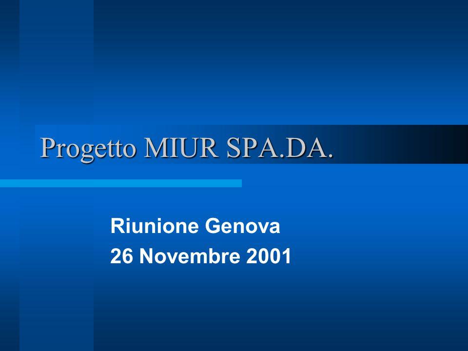 Progetto MIUR SPA.DA. Riunione Genova 26 Novembre 2001
