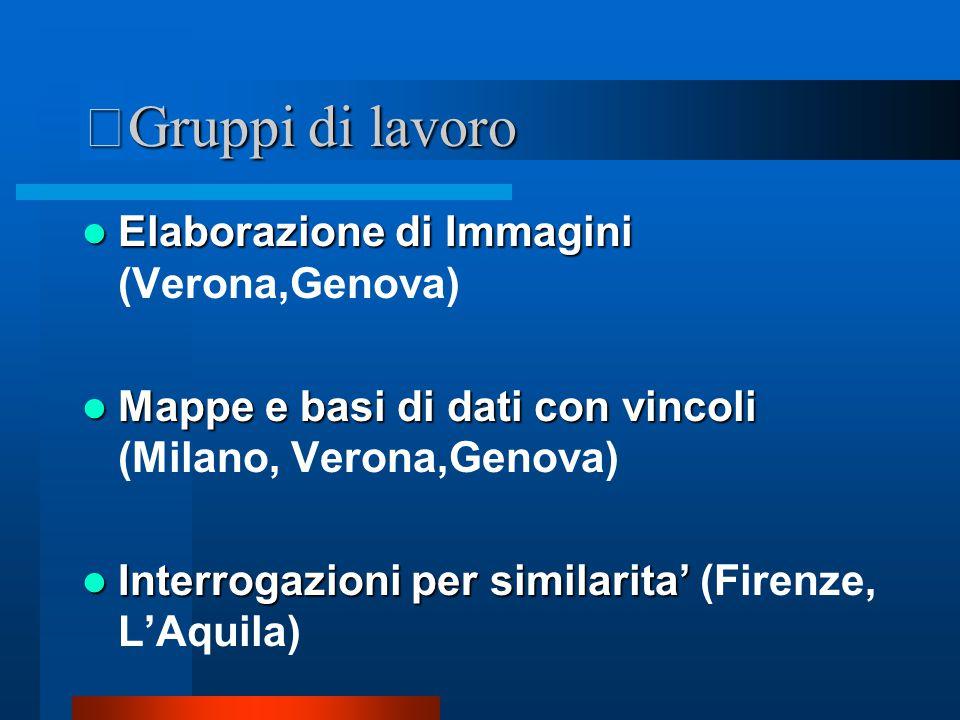 Gruppi di lavoro Elaborazione di Immagini Elaborazione di Immagini (Verona,Genova) Mappe e basi di dati con vincoli Mappe e basi di dati con vincoli (