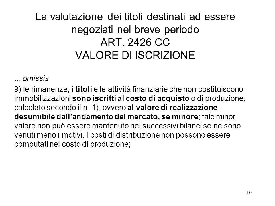 10 La valutazione dei titoli destinati ad essere negoziati nel breve periodo ART.