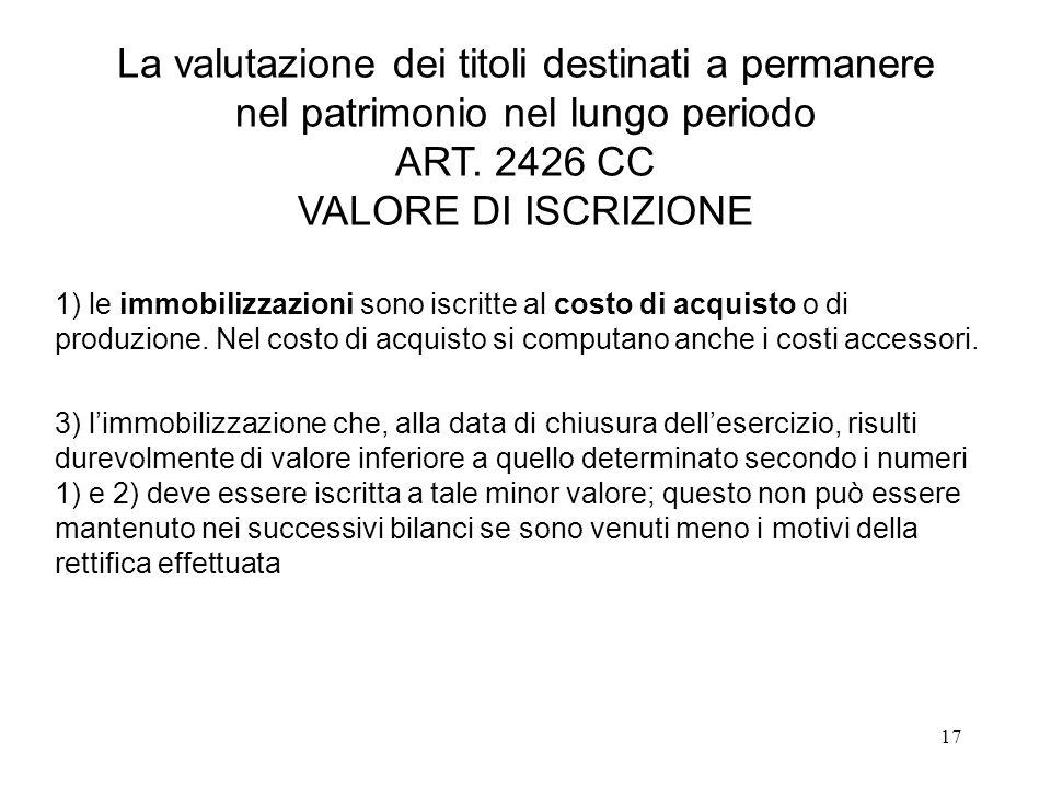 17 La valutazione dei titoli destinati a permanere nel patrimonio nel lungo periodo ART.