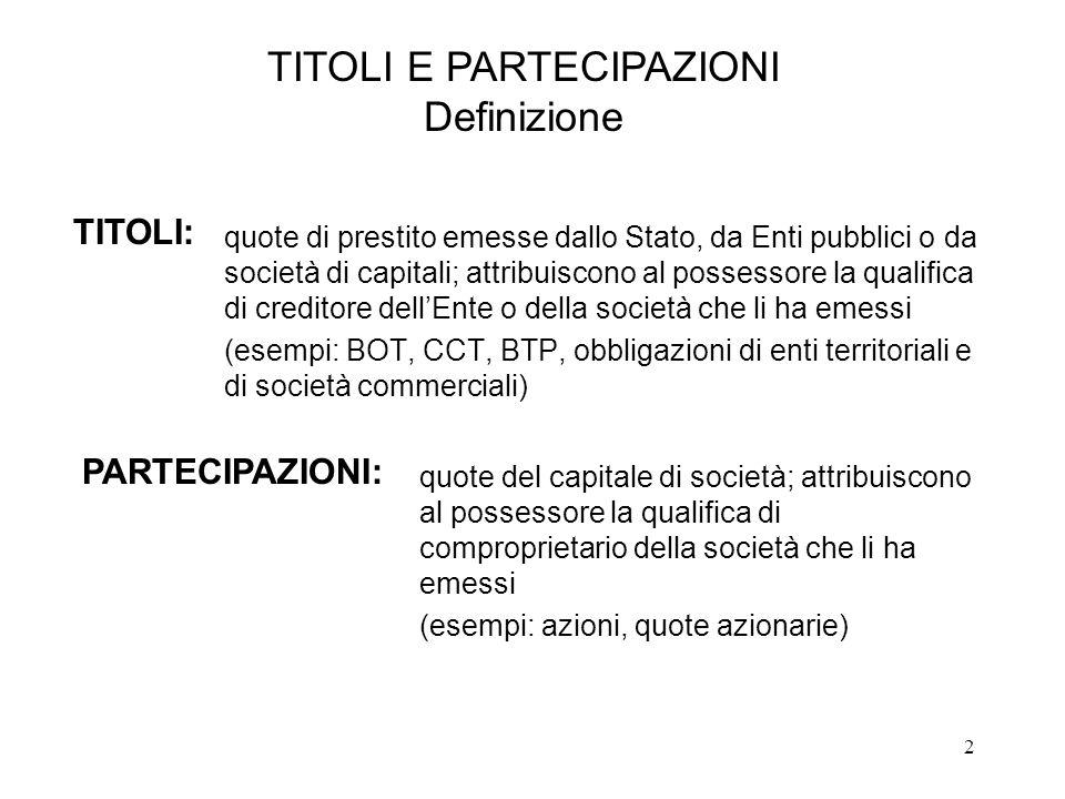 2 quote di prestito emesse dallo Stato, da Enti pubblici o da società di capitali; attribuiscono al possessore la qualifica di creditore dell'Ente o della società che li ha emessi (esempi: BOT, CCT, BTP, obbligazioni di enti territoriali e di società commerciali) TITOLI E PARTECIPAZIONI Definizione TITOLI: PARTECIPAZIONI: quote del capitale di società; attribuiscono al possessore la qualifica di comproprietario della società che li ha emessi (esempi: azioni, quote azionarie)