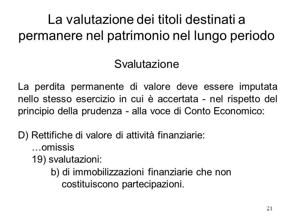 21 La valutazione dei titoli destinati a permanere nel patrimonio nel lungo periodo Svalutazione La perdita permanente di valore deve essere imputata