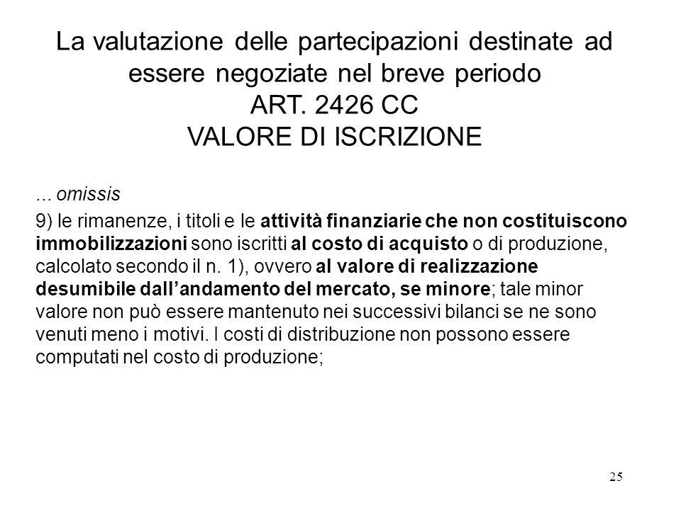 25 La valutazione delle partecipazioni destinate ad essere negoziate nel breve periodo ART. 2426 CC VALORE DI ISCRIZIONE... omissis 9) le rimanenze, i