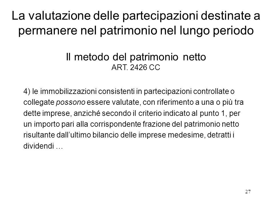27 La valutazione delle partecipazioni destinate a permanere nel patrimonio nel lungo periodo Il metodo del patrimonio netto ART. 2426 CC 4) le immobi