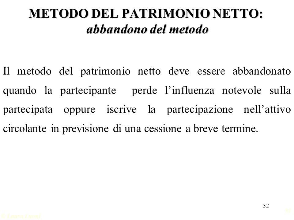 32 © Laura Luoni METODO DEL PATRIMONIO NETTO: abbandono del metodo Il metodo del patrimonio netto deve essere abbandonato quando la partecipante perde