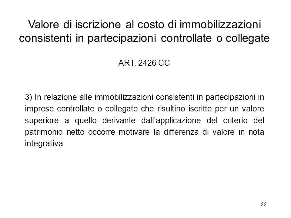 33 Valore di iscrizione al costo di immobilizzazioni consistenti in partecipazioni controllate o collegate ART. 2426 CC 3) In relazione alle immobiliz
