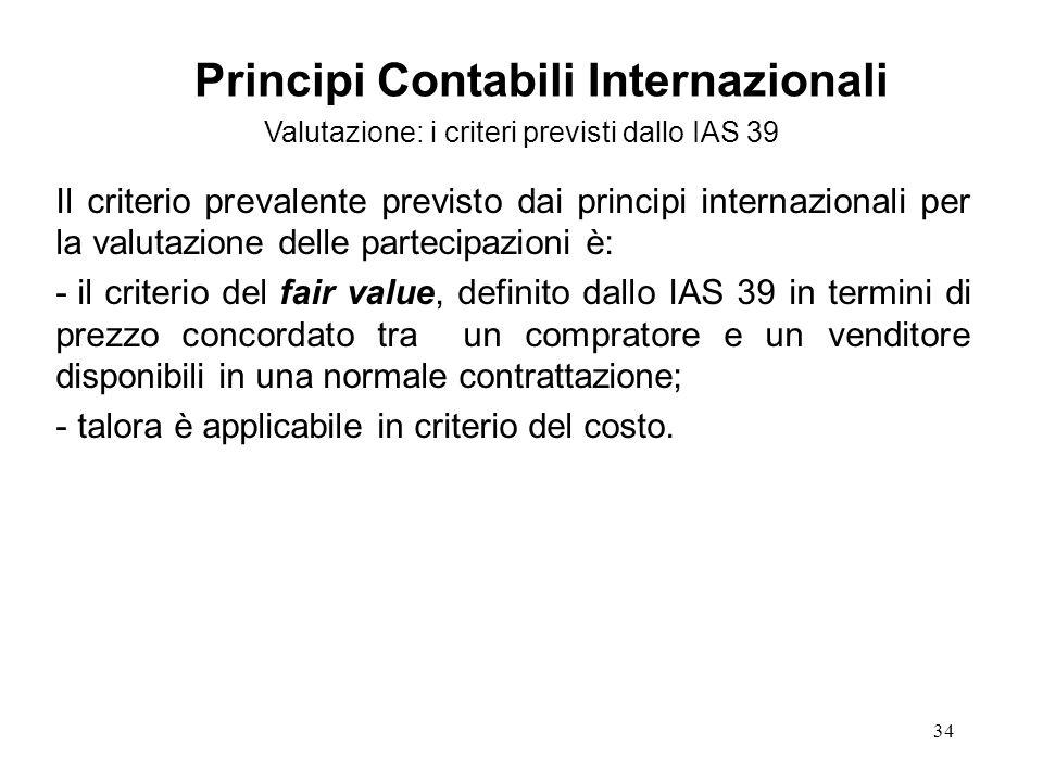 34 Il criterio prevalente previsto dai principi internazionali per la valutazione delle partecipazioni è: - il criterio del fair value, definito dallo