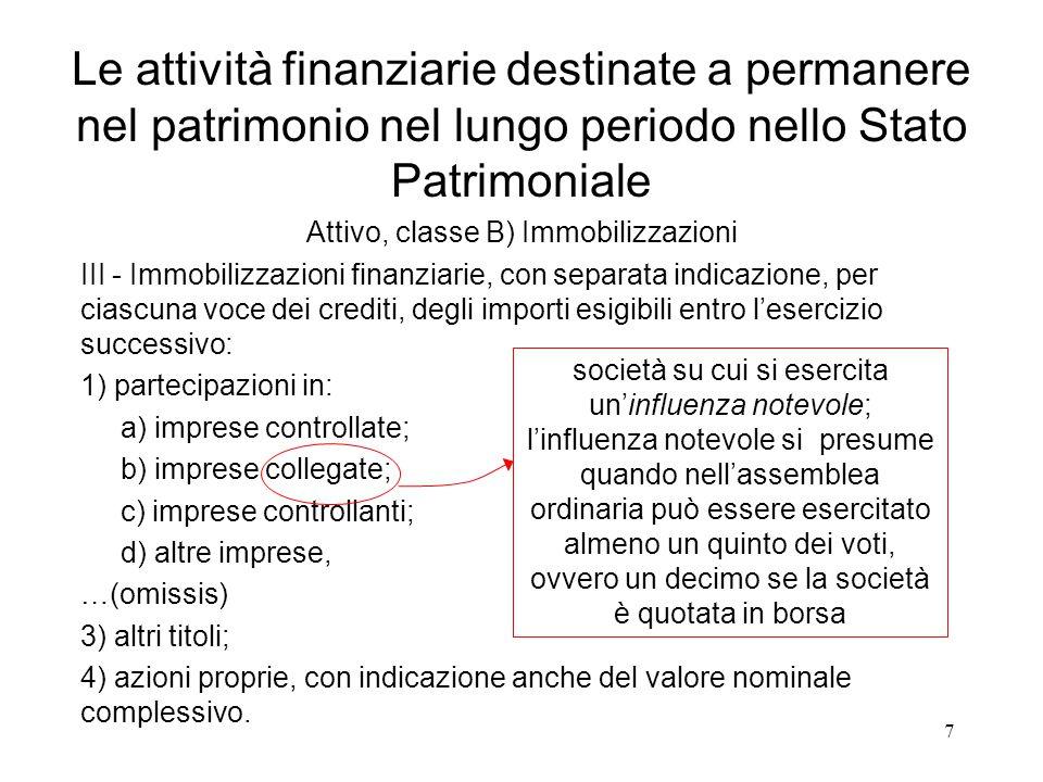 7 III - Immobilizzazioni finanziarie, con separata indicazione, per ciascuna voce dei crediti, degli importi esigibili entro l'esercizio successivo: 1