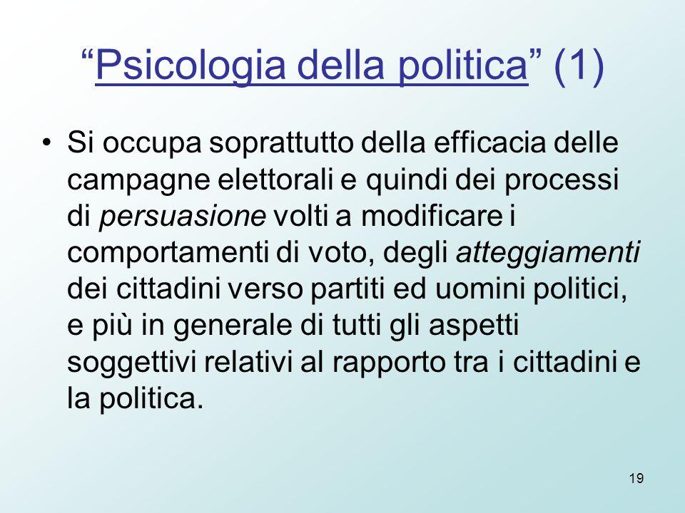 """19 """"Psicologia della politica"""" (1) Si occupa soprattutto della efficacia delle campagne elettorali e quindi dei processi di persuasione volti a modifi"""