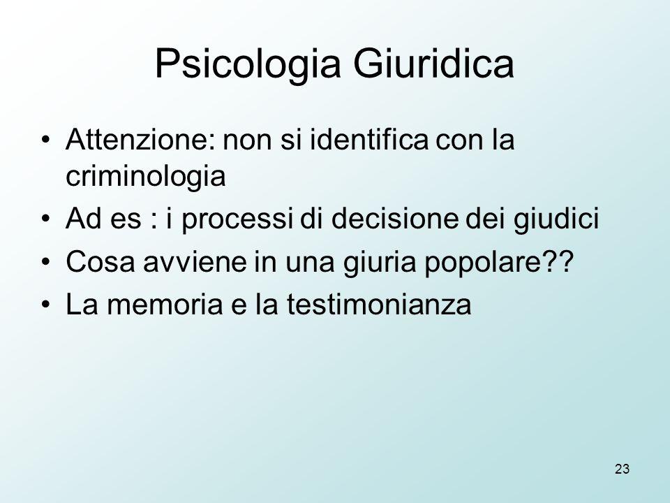 23 Psicologia Giuridica Attenzione: non si identifica con la criminologia Ad es : i processi di decisione dei giudici Cosa avviene in una giuria popolare .