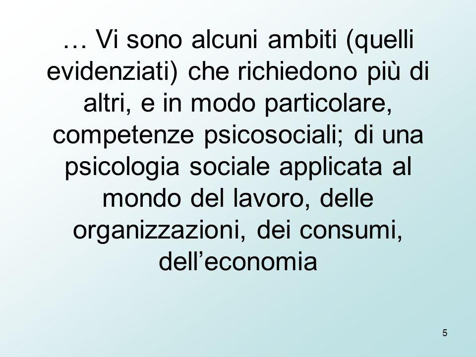 5 … Vi sono alcuni ambiti (quelli evidenziati) che richiedono più di altri, e in modo particolare, competenze psicosociali; di una psicologia sociale applicata al mondo del lavoro, delle organizzazioni, dei consumi, dell'economia