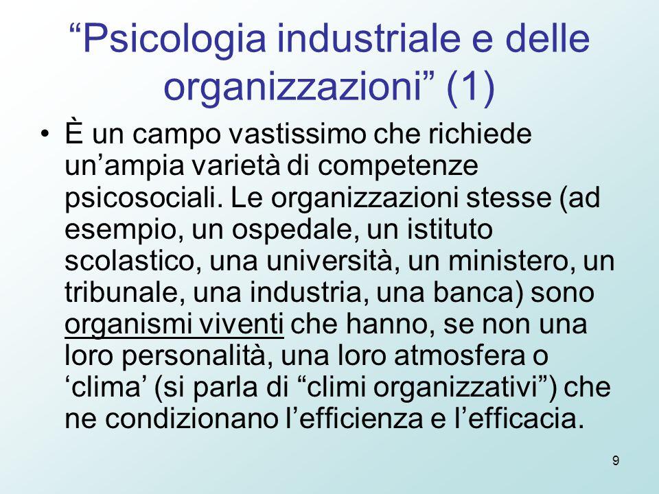 9 Psicologia industriale e delle organizzazioni (1) È un campo vastissimo che richiede un'ampia varietà di competenze psicosociali.