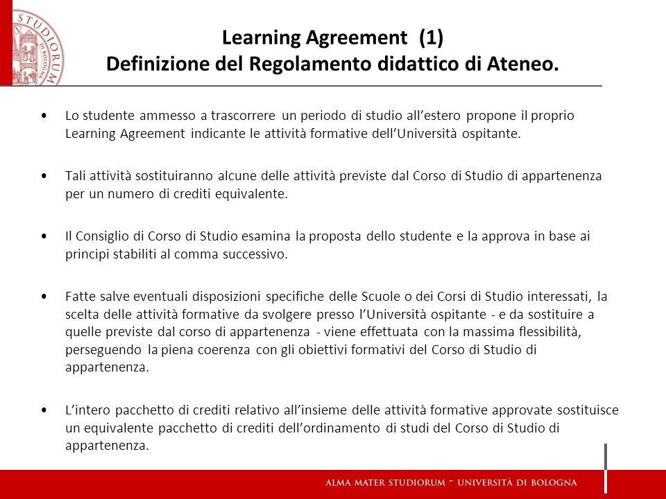 Learning Agreement (1) Definizione del Regolamento didattico di Ateneo.