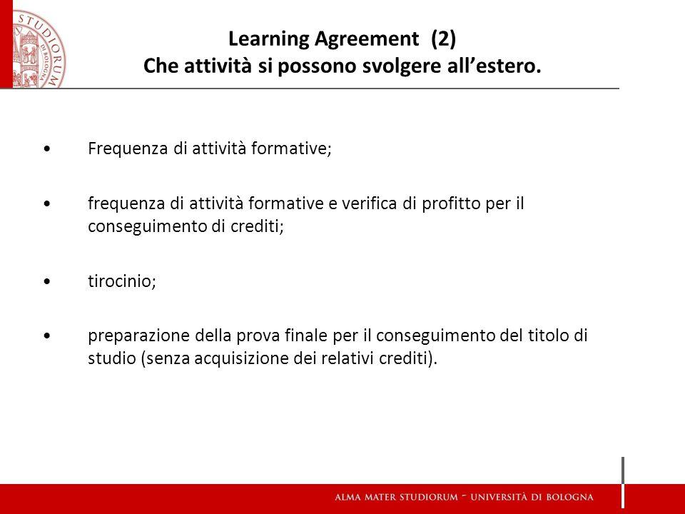 Learning Agreement (3) I passi da compiere Consultare l'offerta formativa della sede estera per l'anno accademico di permanenza (attenzione ai calendari didattici e ai corsi di I e II semestre).