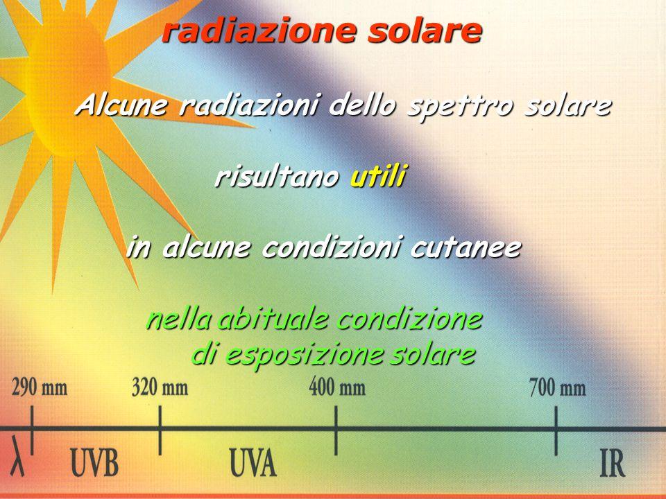 Alcune radiazioni dello spettro solare risultano utili risultano utili in alcune condizioni cutanee in alcune condizioni cutanee nella abituale condiz