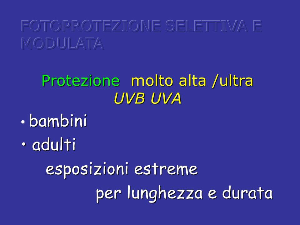 Protezione molto alta /ultra UVB UVA bambini adulti adulti esposizioni estreme esposizioni estreme per lunghezza e durata per lunghezza e durata