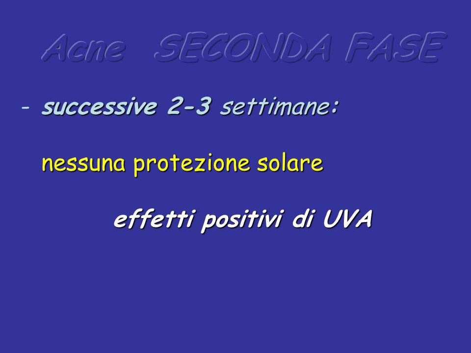 successive 2-3 settimane: - successive 2-3 settimane: nessuna protezione solare nessuna protezione solare effetti positivi di UVA effetti positivi di