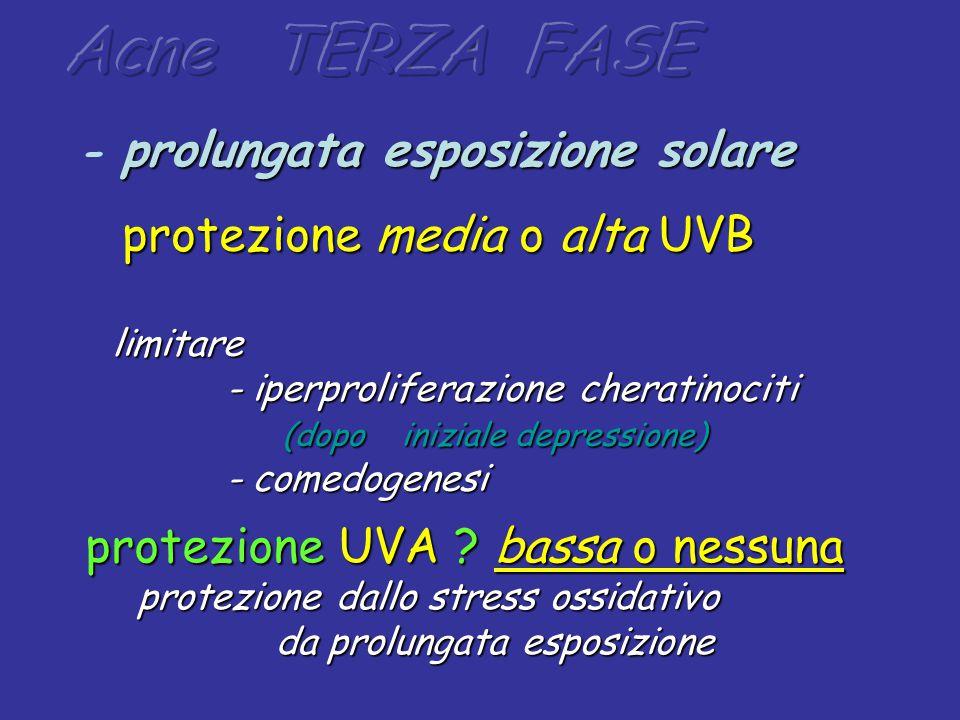 protezione media o alta UVB protezione media o alta UVB limitare - iperproliferazione cheratinociti - iperproliferazione cheratinociti (dopo iniziale