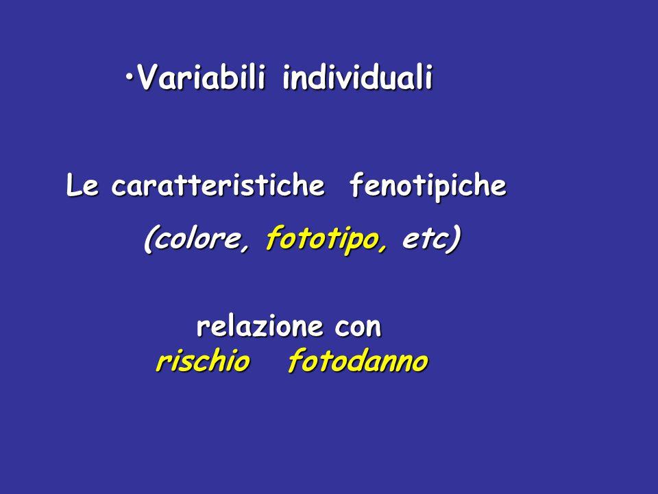 Le caratteristiche fenotipiche (colore, fototipo, etc) (colore, fototipo, etc) relazione con rischio fotodanno rischio fotodanno Variabili individuali