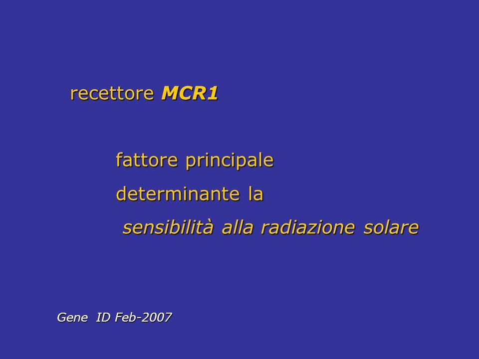 recettore MCR1 recettore MCR1 fattore principale fattore principale determinante la determinante la sensibilità alla radiazione solare sensibilità all
