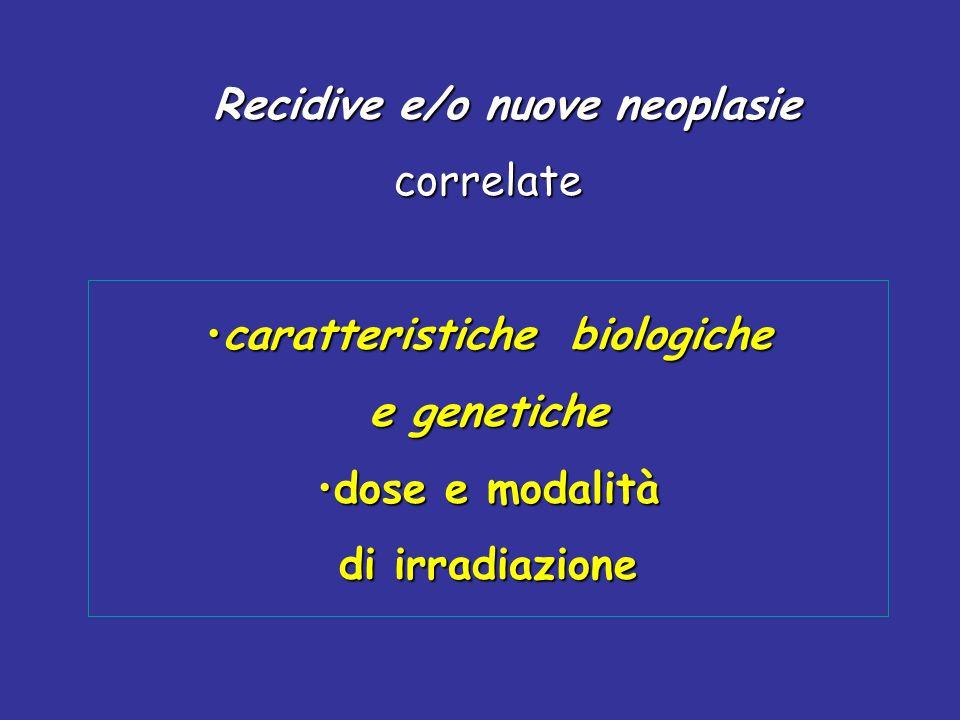 Recidive e/o nuove neoplasie Recidive e/o nuove neoplasiecorrelate caratteristiche biologichecaratteristiche biologiche e genetiche dose e modalitàdos