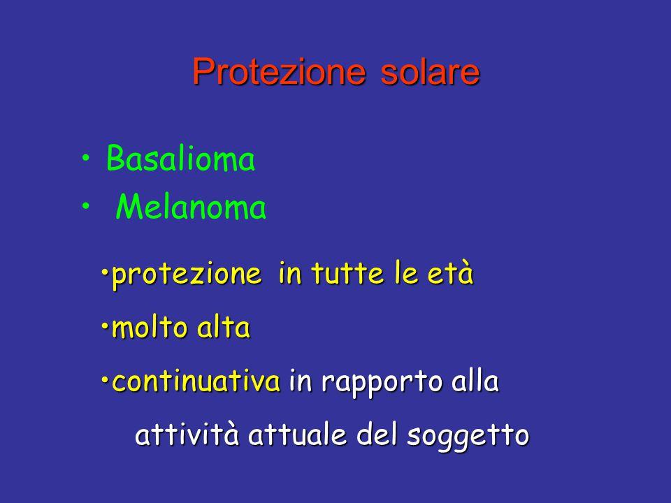Protezione solare Protezione solare Basalioma Melanoma protezione in tutte le etàprotezione in tutte le età molto altamolto alta continuativa in rappo