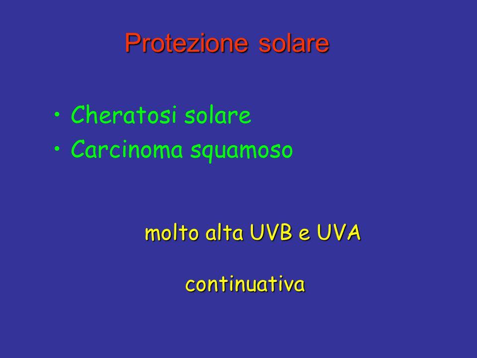 Protezione solare Protezione solare Cheratosi solare Carcinoma squamoso molto alta UVB e UVA molto alta UVB e UVA continuativa continuativa