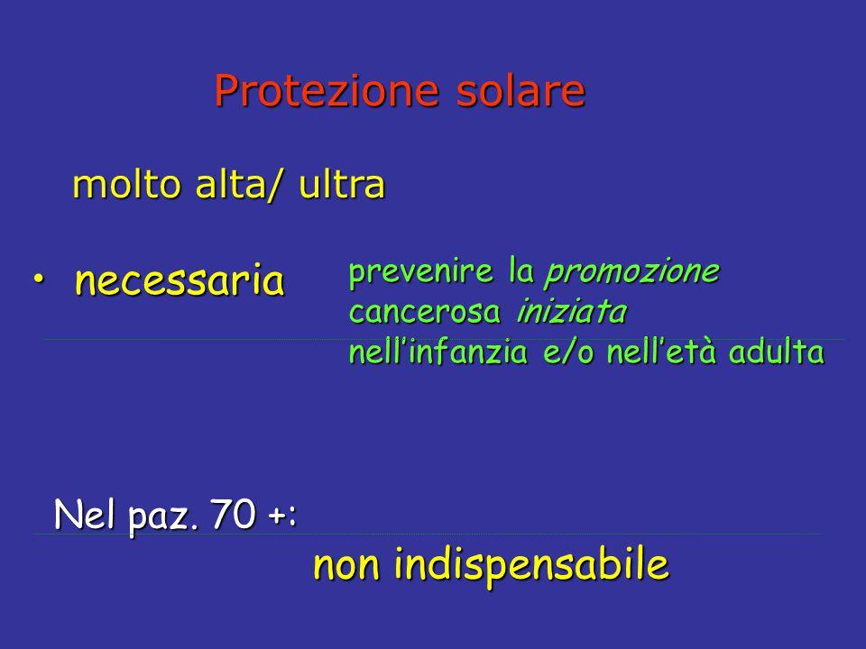 Protezione solare Protezione solare molto alta/ultra molto alta/ ultra necessaria necessaria prevenire la promozione cancerosa iniziata nell'infanzia