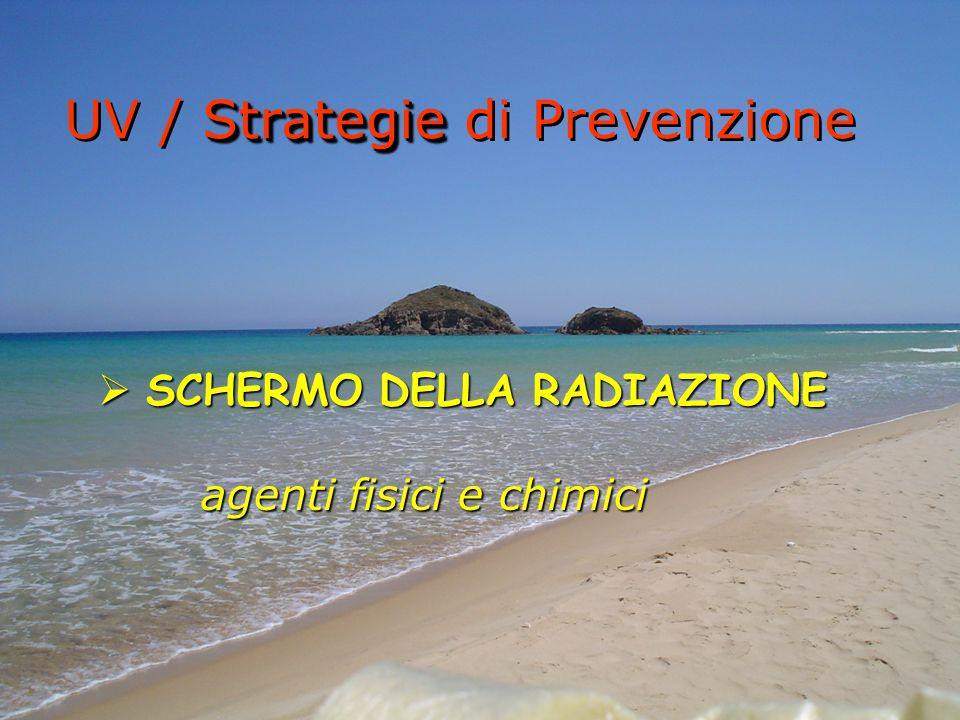  SCHERMO DELLA RADIAZIONE agenti fisici e chimici Strategie UV / Strategie di Prevenzione