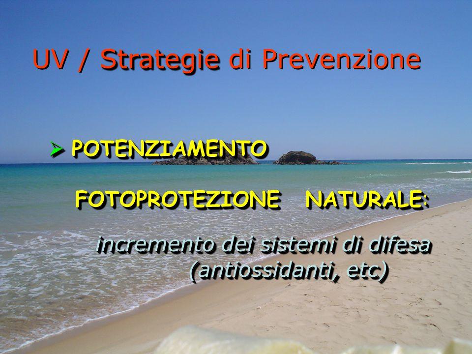 Strategie UV / Strategie di Prevenzione  POTENZIAMENTO FOTOPROTEZIONE NATURALE: FOTOPROTEZIONE NATURALE: incremento dei sistemi di difesa (antiossida