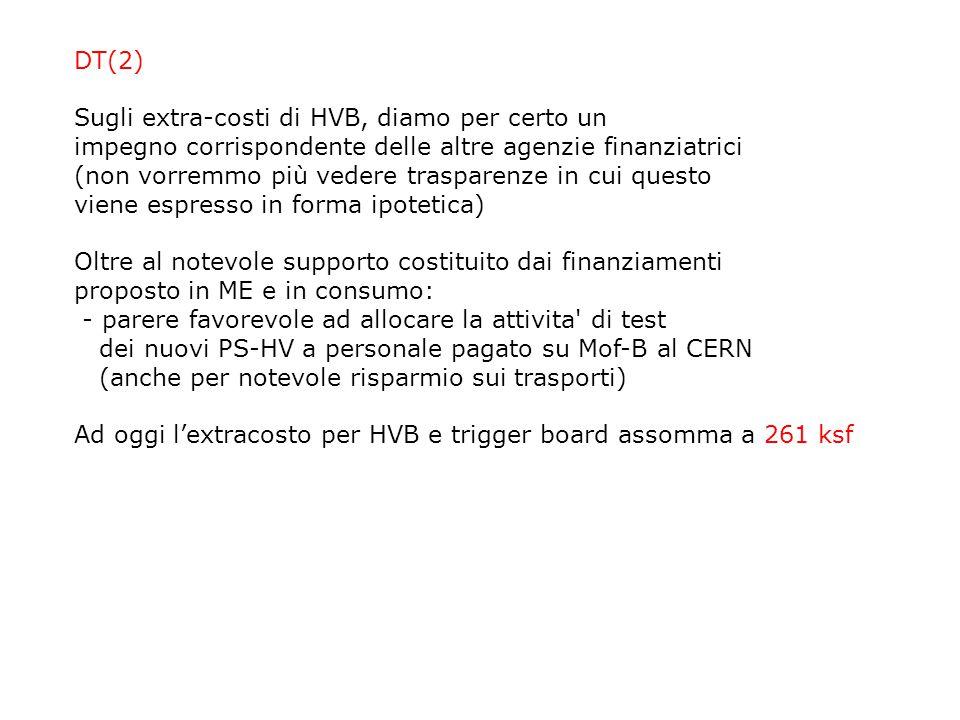 DT(2) Sugli extra-costi di HVB, diamo per certo un impegno corrispondente delle altre agenzie finanziatrici (non vorremmo più vedere trasparenze in cu
