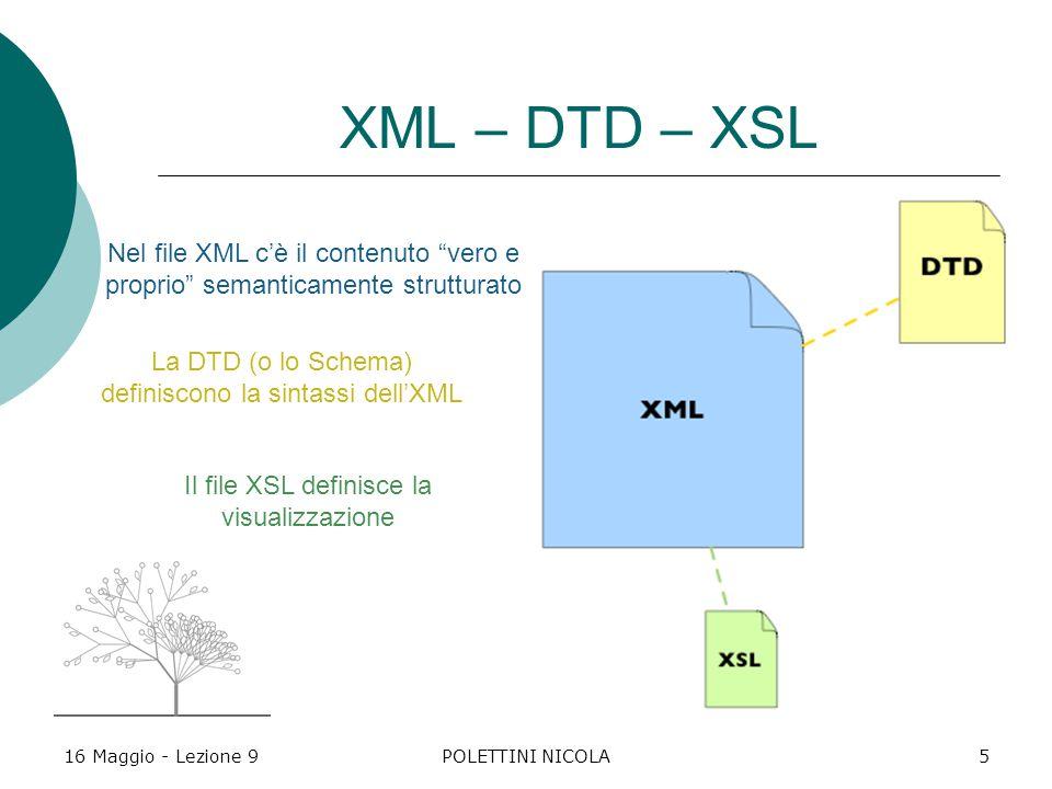 16 Maggio - Lezione 9POLETTINI NICOLA5 XML – DTD – XSL Nel file XML c'è il contenuto vero e proprio semanticamente strutturato La DTD (o lo Schema) definiscono la sintassi dell'XML Il file XSL definisce la visualizzazione