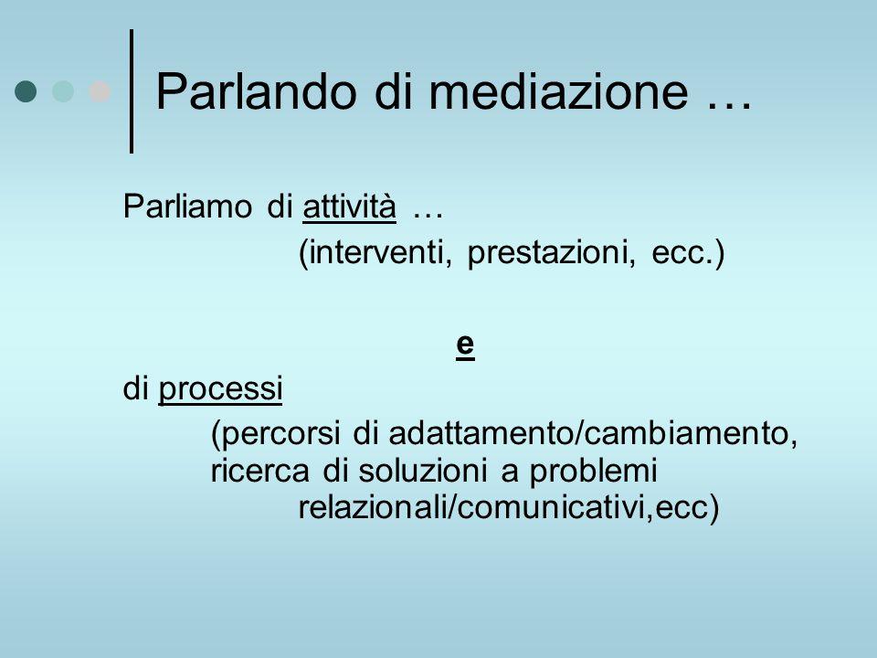 Parlando di mediazione … Parliamo di attività … (interventi, prestazioni, ecc.) e di processi (percorsi di adattamento/cambiamento, ricerca di soluzioni a problemi relazionali/comunicativi,ecc)