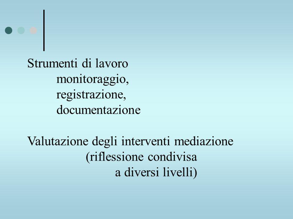 Strumenti di lavoro monitoraggio, registrazione, documentazione Valutazione degli interventi mediazione (riflessione condivisa a diversi livelli)