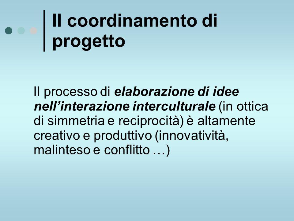 Il coordinamento di progetto Il processo di elaborazione di idee nell'interazione interculturale (in ottica di simmetria e reciprocità) è altamente creativo e produttivo (innovatività, malinteso e conflitto …)