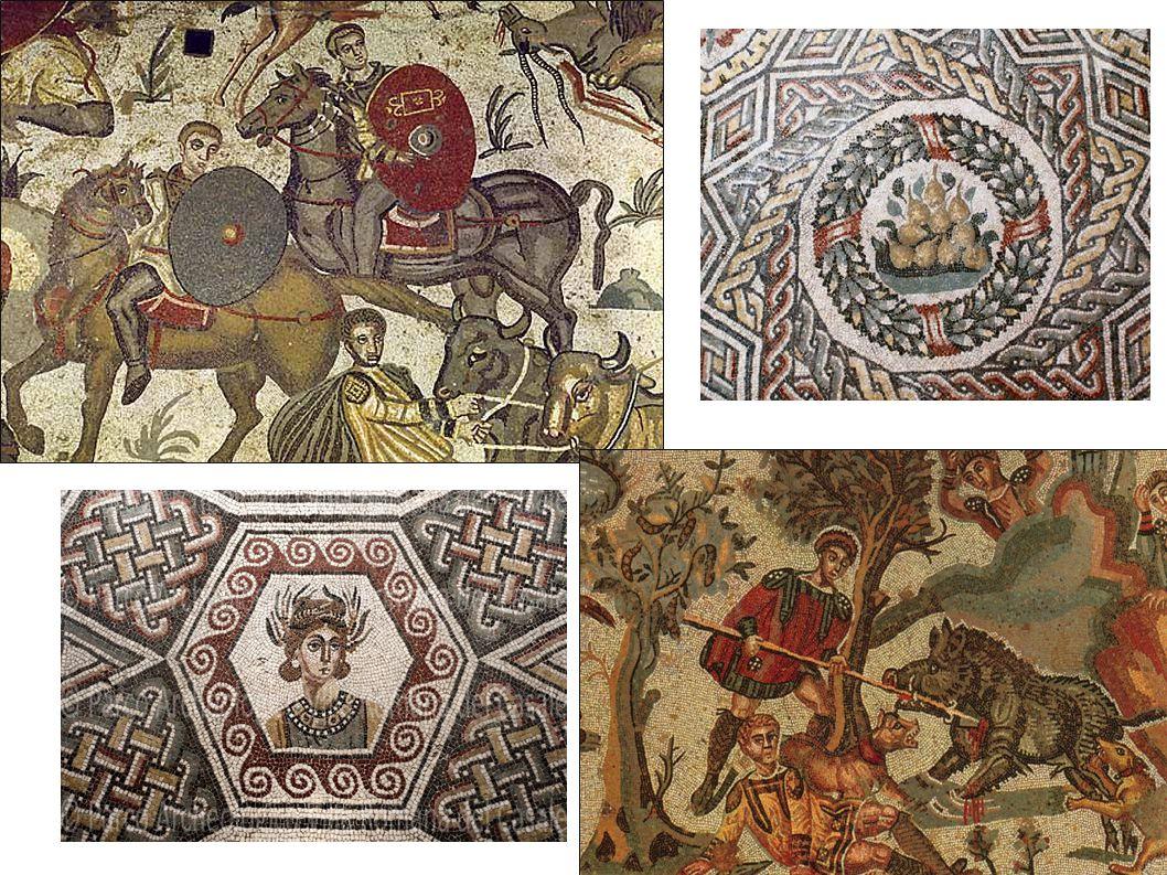 I mosaici nelle ville e abitazioni private erano coloratissimi, mentre negli spazi pubblici come mercati, chiese, basiliche o piazze, erano in bianco e nero.
