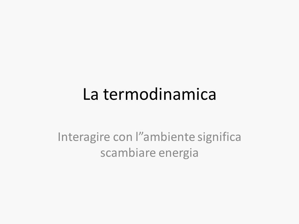 """La termodinamica Interagire con l""""ambiente significa scambiare energia"""