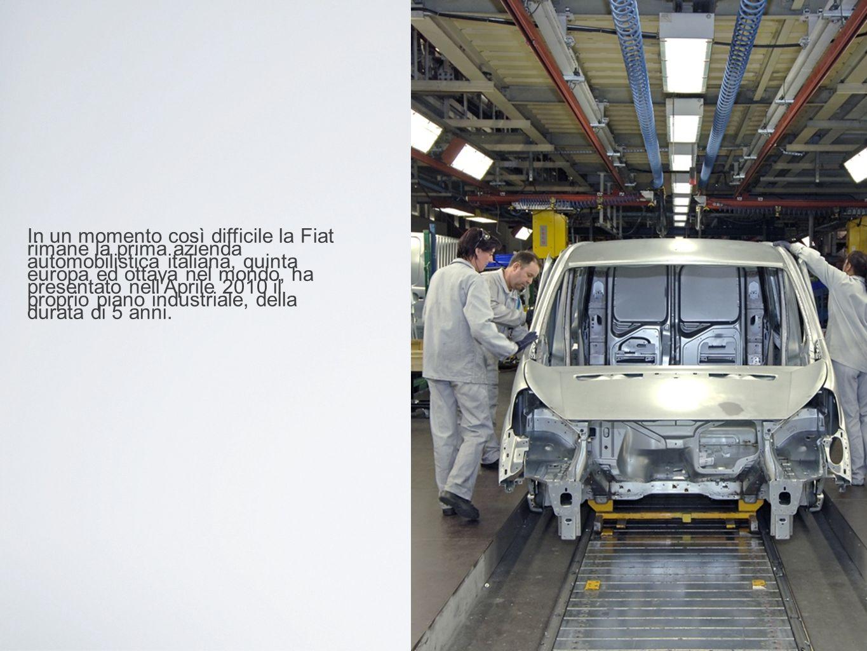 In un momento così difficile la Fiat rimane la prima azienda automobilistica italiana, quinta europa ed ottava nel mondo, ha presentato nell Aprile 2010 il proprio piano industriale, della durata di 5 anni.