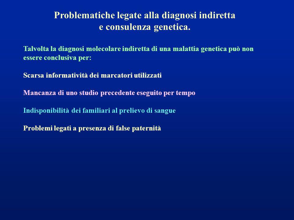 Problematiche legate alla diagnosi indiretta e consulenza genetica. Talvolta la diagnosi molecolare indiretta di una malattia genetica può non essere