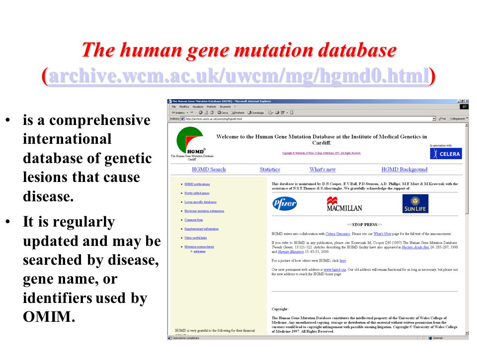 The human gene mutation database (archive.wcm.ac.uk/uwcm/mg/hgmd0.html) archive.wcm.ac.uk/uwcm/mg/hgmd0.html is a comprehensive international database