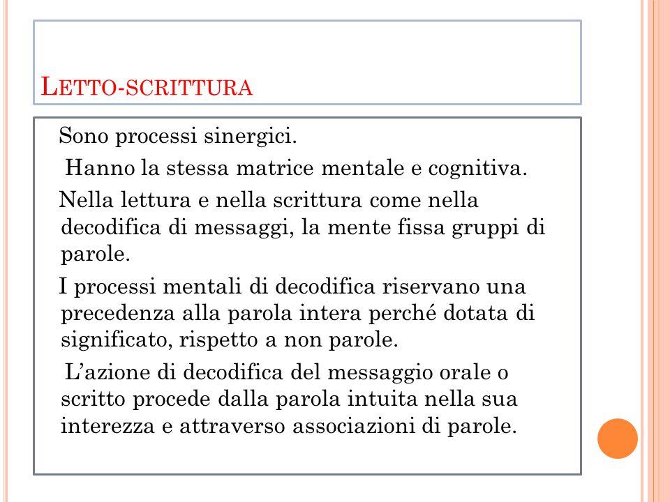 L ETTO - SCRITTURA Sono processi sinergici. Hanno la stessa matrice mentale e cognitiva.