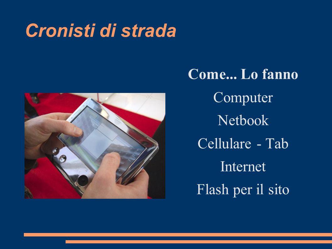 Cronisti di strada Come... Lo fanno Computer Netbook Cellulare - Tab Internet Flash per il sito