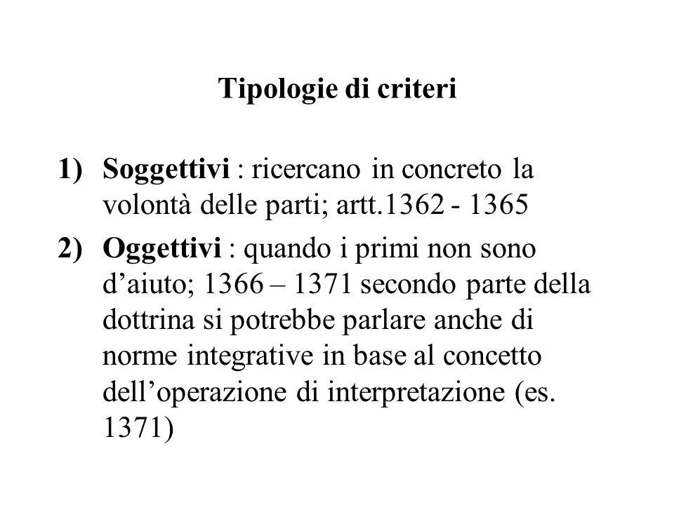 Tipologie di criteri 1)Soggettivi : ricercano in concreto la volontà delle parti; artt.1362 - 1365 2)Oggettivi : quando i primi non sono d'aiuto; 1366